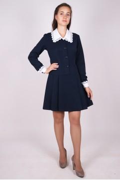 f8a153752e3 Школьное синее платье с длинным рукавом