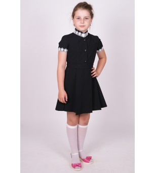 """Платье черное с коротким рукавом, воротник """"стойка"""" (младшая школьная группа)"""