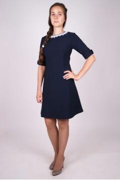 Платье школьное синее  «Ольга» с коротким рукавом (для всех школьных групп)