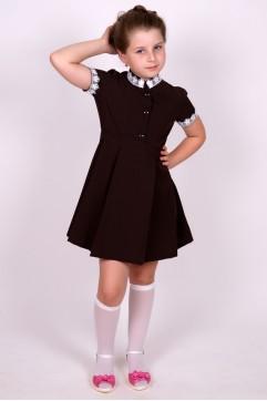 """Платье коричневое с коротким рукавом, воротник """"стойка"""" (младшая школьная группа)"""