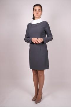 Платье школьное серое «Виктория» с длинным рукавом