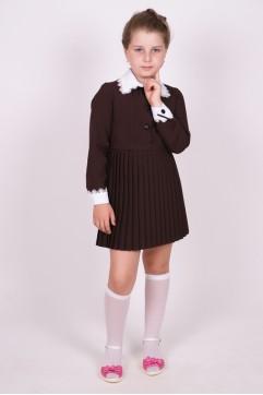 """Платье школьное коричневое """"Плиссе"""" с длинным рукавом (младшая и средняя школьные группы)"""