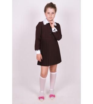 """Платье школьное коричневое """"Плиссе"""" с длинным рукавом (младшая школьная группа)"""