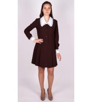 Платье коричневое школьное с длинным рукавом (старшая школьная группа)