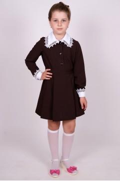Платье школьное коричневое с длинным рукавом (младшая школьная группа)