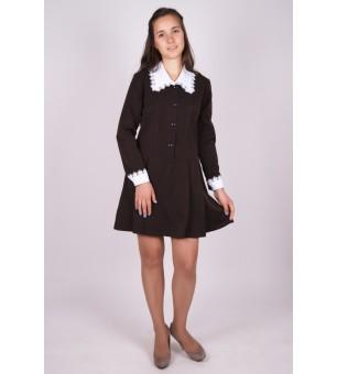"""Платье школьное коричневое """"Поливискоза"""" с длинным рукавом (подростковая школьная группа)"""
