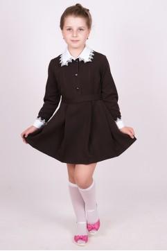 """Платье школьное коричневое """"Поливискоза"""" с длинным рукавом (младшая школьная группа)"""
