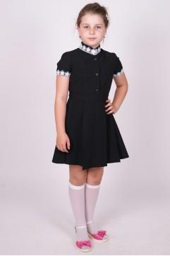 """Платье черное с коротким рукавом, воротник """"стойка"""" (младшая и средняя школьные группы)"""