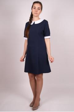 Платье «Весна» короткий рукав вшитый воротник синее (габард.)