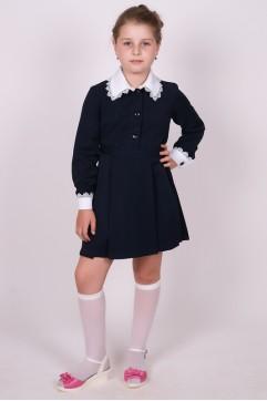 """Платье школьное синее """"Поливискоза"""" с длинным рукавом (младшая школьная группа)"""
